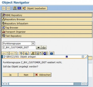Object Navigator Funktionsgruppe