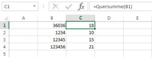 Quersumme in Excel berechnen