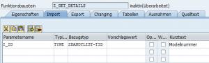 Beim Importparameter können auch Vorschlagswerte definiert werden