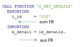 Aufruf des Funktionsbausteins mit Parametern