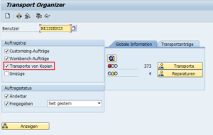 SAP Transport Organizer SE10