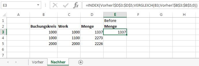 Suchergebnis der INDEX VERGLEICH Formel