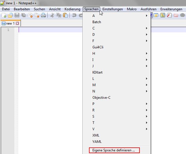 Eigene Sprache in Notepad++ definieren