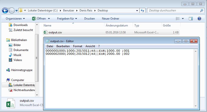 Flatfile auf dem desktop generieren