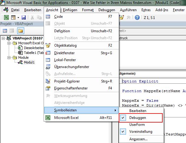 Debugger Leiste in Excel einblenden