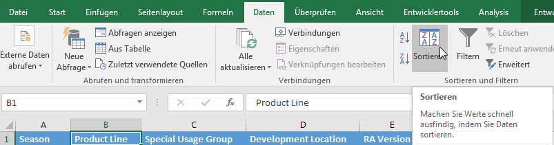 Daten in Excel sortieren