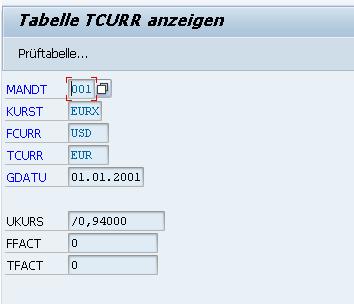 Eintrag in der Tabelle TCURR anzeigen
