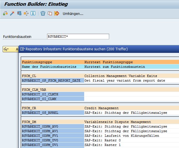 Alle SAP Exit Variablen