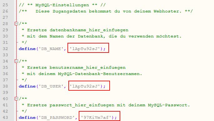 Datenbankeinstellungen