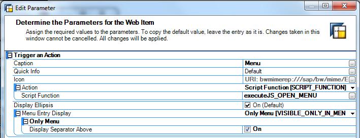 Einstellungen im Web Item Button