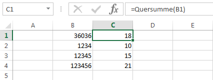 Excel Quersumme