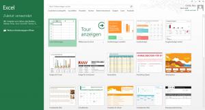 Excel Startbildschirm