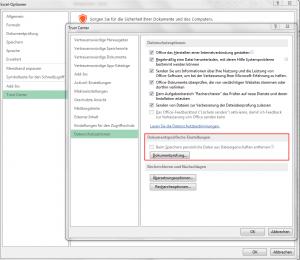 Beim Speichern persönliche Daten aus Dateieigenschaften entfernen