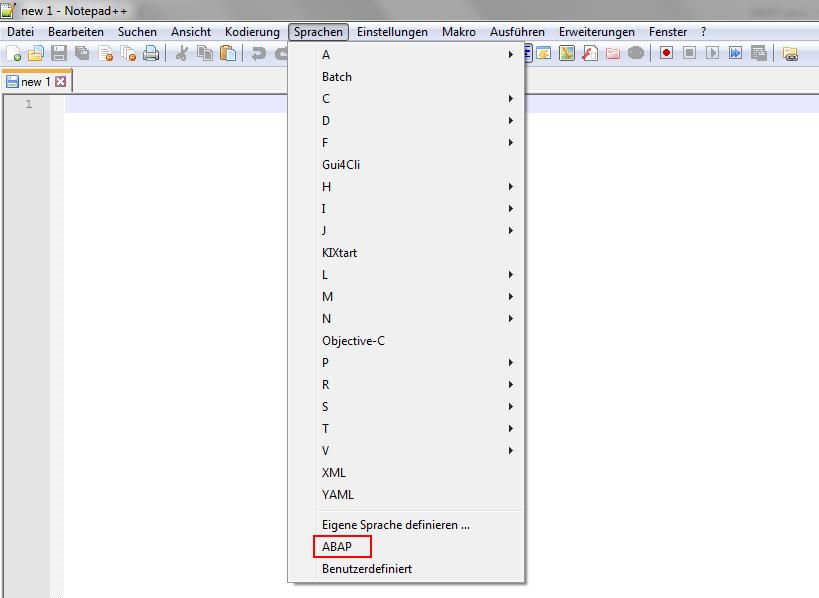 Sprache zu ABAP ändern