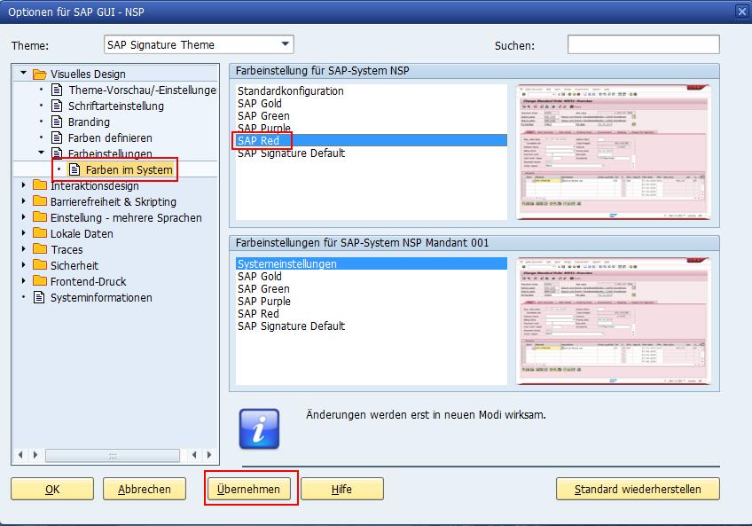 Optionen für SAP GUI