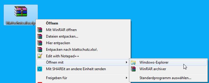 Archiv mit Windows Explorer öffnen