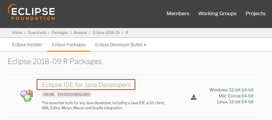Eclipse Package herunterladen