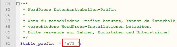Datenbanktabellen Präfix anpassen